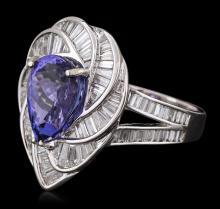18KT White Gold 5.36 ctw Tanzanite and Diamond Ring