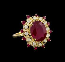 10.65 ctw Ruby and Diamond Ring - 14KT Yellow Gold