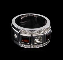 0.54 ctw Garnet and White Sapphire Ring - .925 Silver