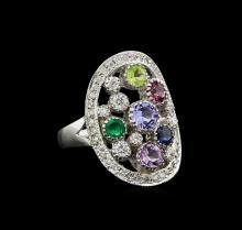 14KT White Gold 1.69 ctw Multi Gemstone and Diamond Ring