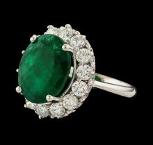 7.16 ctw Emerald and Diamond Ring - 14KT White Gold