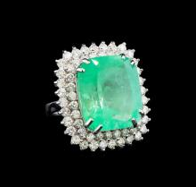 GIA Cert 19.97 ctw Emerald and Diamond Ring - 14KT White Gold