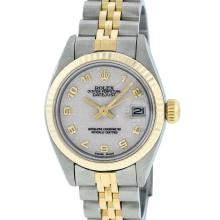 Rolex Two-Tone Cream Arabic Fluted Oyster Band DateJust Ladies Watch