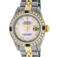 Rolex Ladies 2T Pink MOP Roman Emerald And Diamond Datejust Wristwatch