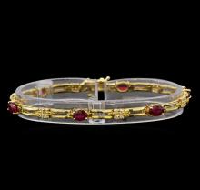 14KT Yellow Gold 2.82 ctw Ruby and Diamond Bracelet