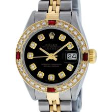 Rolex Ladies 2T Black Diamond And Ruby Datejust Wristatch