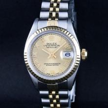 Rolex Two-Tone Champagne Roman DateJust Ladies Watch