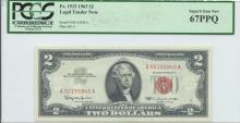 1963 PCGS SGU 67PPQ $2 Legal Tender Bank Note