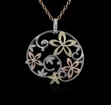 1.44 ctw Diamond Pendant With Chain - 14KT White, Yellow and Rose Gold