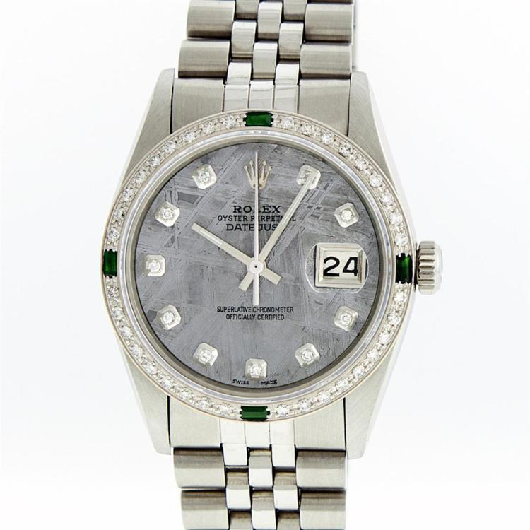 Rolex Stainless Steel Meteorite Diamond Emerald DateJust Men's Watch