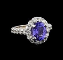 3.48 ctw Tanzanite and Diamond Ring - 14KT White Gold