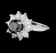 3.47 ctw Black and White Diamond Ring - 14KT White Gold