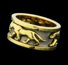 Panther Motif Band - 14KT Yellow Gold with White Rhodium
