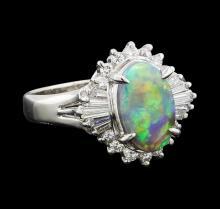 1 ctw Black Opal and Diamond Ring - Platinum