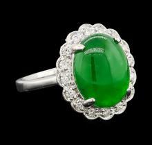 4.63 ctw Jade and Diamond Ring - Platinum