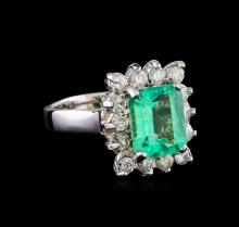 2.90 ctw Emerald and Diamond Ring - 14KT White Gold