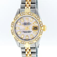 Rolex Two-Tone Pink MOP Baguette and Pyramid Diamond DateJust Ladies Watch