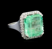 GIA Cert 12.39 ctw Emerald and Diamond Ring - 14KT White Gold