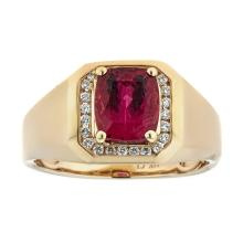 3.01 ctw Rubellite and Diamond Ring - 14KT Yellow Gold