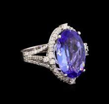 10.18 ctw Tanzanite and Diamond Ring - 14KT White Gold