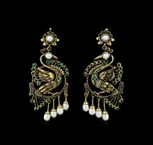 1.15 ctw Emerald, Diamond, Pearl Earrings - 18KT Yellow Gold