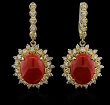 14KT Yellow Gold 13.02 ctw Coral and Diamond Earrings