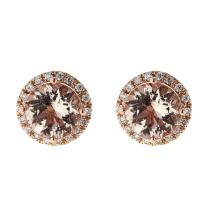 3.36 ctw Morganite and Diamond Earrings - 14KT Rose Gold