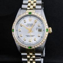 Rolex Two Tone Diamond and Emerald DateJust Men's Watch
