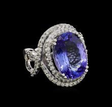 11.16 ctw Tanzanite and Diamond Ring - 14KT White Gold
