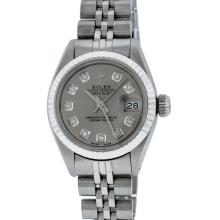 Rolex Stainless Steel Diamond DateJust Ladies Watch