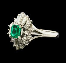 0.39 ctw Emerald and Diamond Ring - Platinum