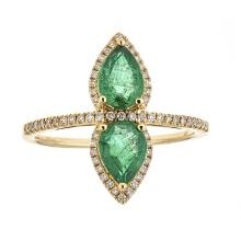 1.13 ctw Emerald and Diamond Ring - 18KT Yellow Gold