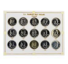 1950-1964 Sealed US Franklin Half Dollar Proof Set Silver Coins