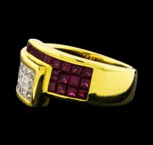1.20 ctw Diamond and Ruby Ring - 18KT Yellow Gold