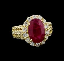 GIA Cert 4.99 ctw Ruby and Diamond Ring - 14KT Yellow Gold