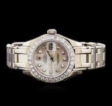 Rolex Pearl Master 18KT White Gold 1.44 ctw Diamond DateJust Ladies Watch