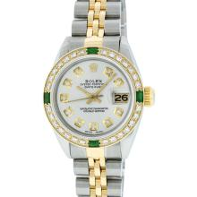 Rolex Two-Tone Diamond and Emerald DateJust Ladies Watch
