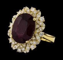 11.11 ctw Ruby and Diamond Ring - 14KT Yellow Gold