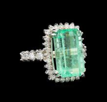 GIA Cert 9.60 ctw Emerald and Diamond Ring - 14KT White Gold