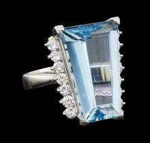 9.09 ctw Aquamarine and Diamond Ring - Platinum