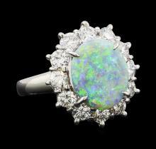1.77 ctw Opal and Diamond Ring - Platinum