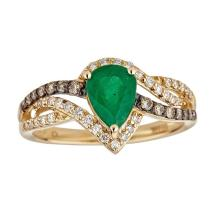 1.04 ctw Emerald and Diamond Ring - 14KT Yellow Gold