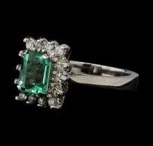 1.35 ctw Emerald and Diamond Ring - 14KT White Gold