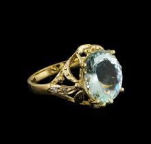 3.55 ctw Aquamarine and Diamond Ring - 14KT Yellow Gold
