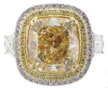 GIA Cert 9.27 ctw Fancy Yellow Diamond Ring - 18KT Yellow Gold