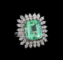 GIA Cert 10.87 ctw Emerald and Diamond Ring - 14KT White Gold