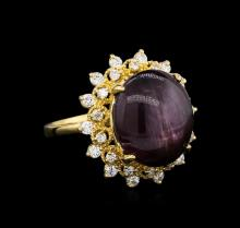 13.22 ctw Ruby and Diamond Ring - 14KT Yellow Gold
