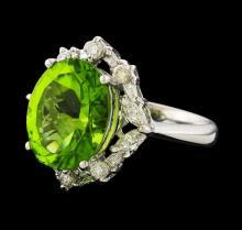 5.89 ctw Peridot and Diamond Ring - Platinum