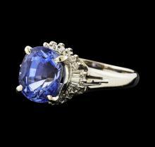 4.35 ctw Tanzanite and Diamond Ring - Platinum