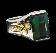 5.04 ctw Tourmaline and Diamond Ring - Platinum and Yellow Gold